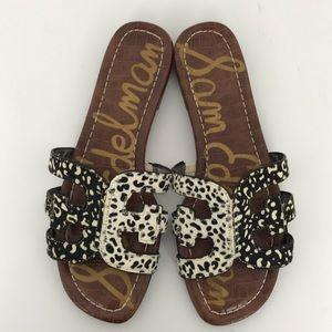 Sam Edelman Bay Animal Print Brahma Hair Sandals